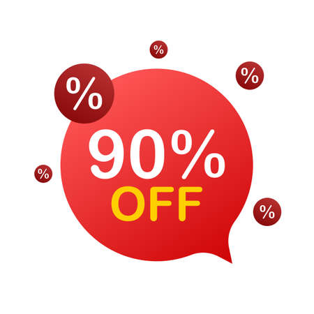 90 percent OFF Sale Discount Banner. Discount offer price tag. 90 percent discount promotion flat icon with long shadow. Vector illustration.