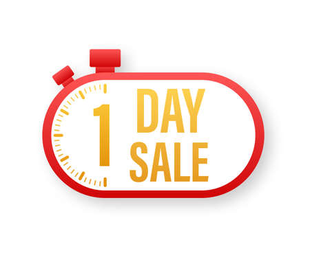 Button with 1 day sale for web site design. Vector stock illustration.