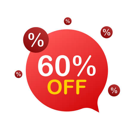 60 percent OFF Sale Discount Banner. Discount offer price tag. 60 percent discount promotion flat icon with long shadow. Vector illustration.