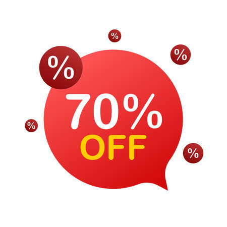 70 percent OFF Sale Discount Banner. Discount offer price tag. 70 percent discount promotion flat icon with long shadow. Vector illustration. Ilustracja