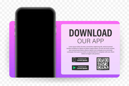 Download page of the mobile app. Empty screen smartphone for you app. Download app. Vector stock illustration Ilustracja