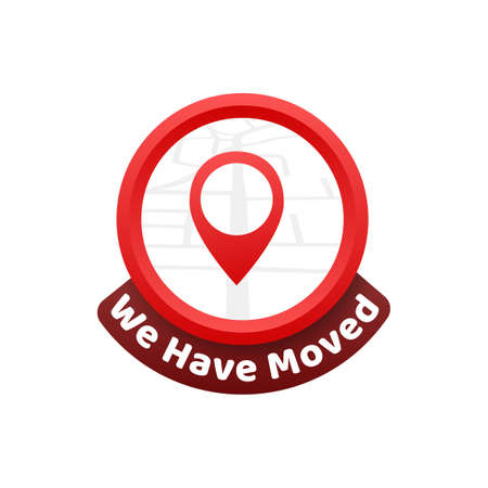 We have moved. Moving office sign. Clipart image isolated on red background. Vector illustration
