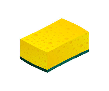 Scouring pads sponge for housework cleaning and scouring pad domestic sponge work tools. stock illustration.