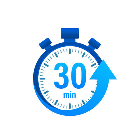 The 30 minutes, stopwatch icon. Stopwatch icon in flat style, timer on on color background. illustration.  イラスト・ベクター素材