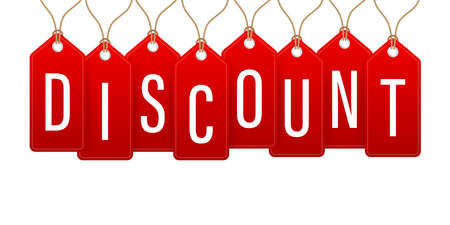 Discount Red Rounded Hangtags Sale. Price tag Vector stock illustration. Stock fotó - 154504348