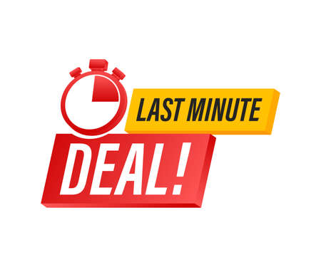 Red last minute deal button sign, alarm clock countdown  . Vector illustration.