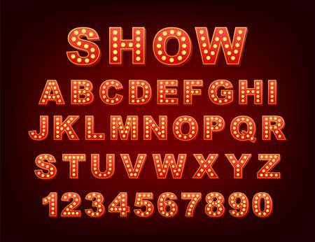 Retro light text, great design for any purposes. Vector retro light bulb alphabet. Vector stock illustration. Vektorgrafik
