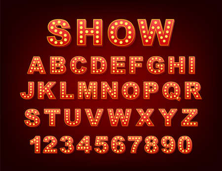 Retro light text, great design for any purposes. Vector retro light bulb alphabet. Vector stock illustration. Vector Illustratie