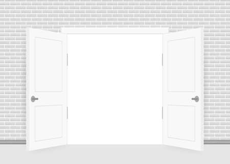 Open end closed door. Interior design. Business concept. Front view. Home office concept. Business success.