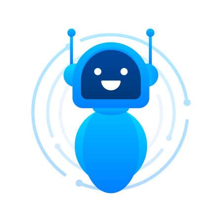Robot icon. Bot sign design. Chatbot symbol concept. Voice support service bot. Online support bot. Vector illustration. Иллюстрация