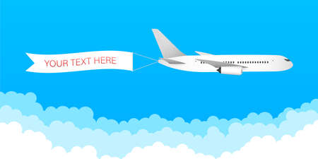 Airplane banner in flat style. Speed airplane aircraft jet with advertising banner ribbon in the cloudy sky. Vector stock illustration.