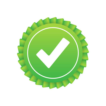 Check mark. Green approved star sticker on white background. Vector stock illustration.
