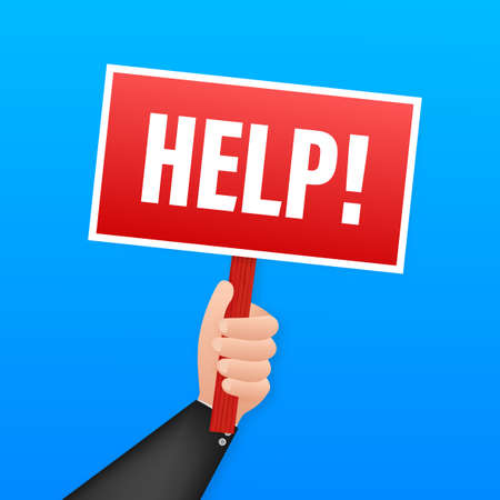 Help hands holding protest signs. Vector stock illustration.