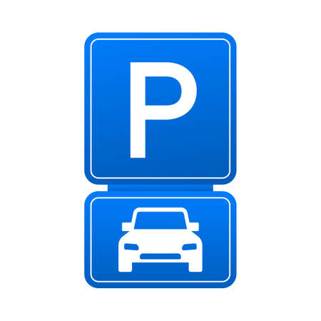 Template with blue parking. Logo, icon, label. Parking on white background. Web element. Vector stock illustration.