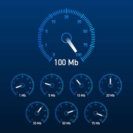 Set Speed test. Speedometer Internet Speed. Website speed loading time. Vector illustration.