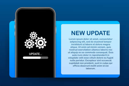 System software update, data update or synchronize with progress bar on the screen. Vector Illustration