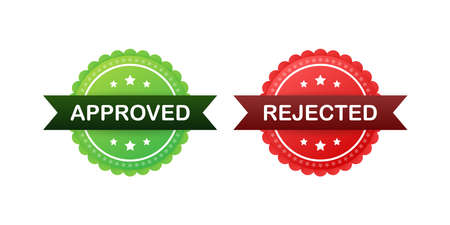 Approved and rejected label sticker icon. Vector stock illustration.