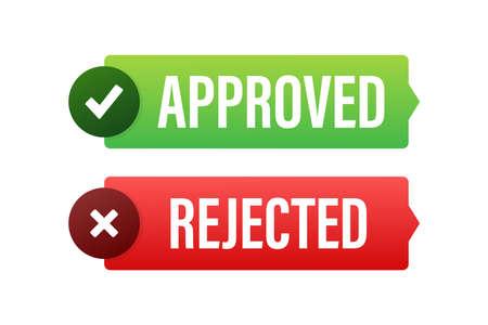 Approved and rejected label sticker icon. Vector stock illustration. Vektorgrafik