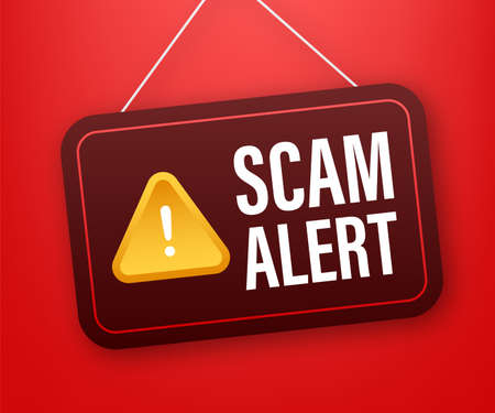 Scam alert. Hacker attack and web security vector concept, phishing scam. Network and internet security. Vector illustration. 向量圖像