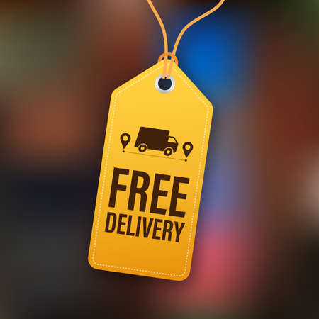 Free delivery. Badge with truck. Price tag. Vector stock illustrtaion. 向量圖像