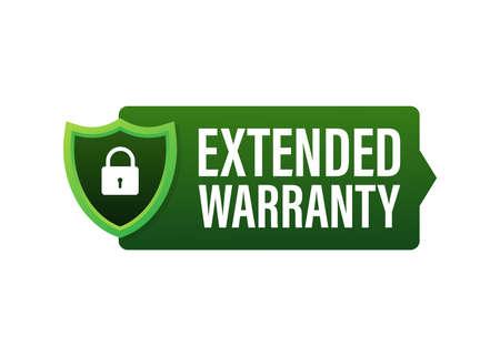 Extended warranty label or sticker. Badge, icon, stamp. Vector illustration. 向量圖像