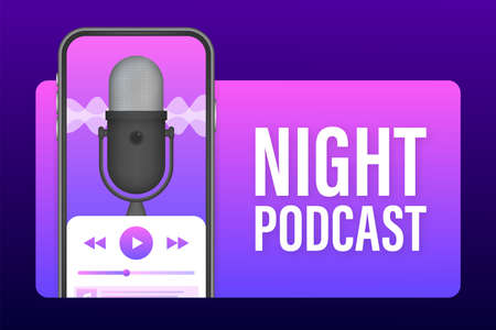Night Podcast on smatrphone screen, vector symbol in flat isometric style isolated on color background. Vector stock illustration