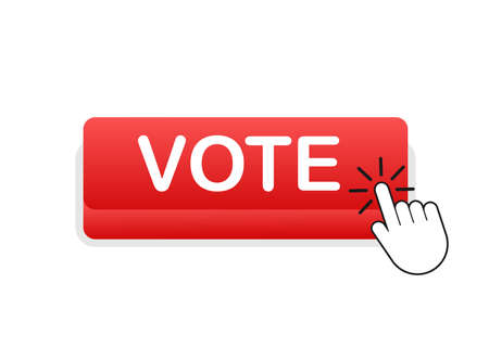 Vote button. Hand click icon. Finger click icon. Vector stock illustration.