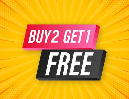 Buy 2 Get 1 Free, sale tag, banner design template. Vector stock illustration. Vektoros illusztráció