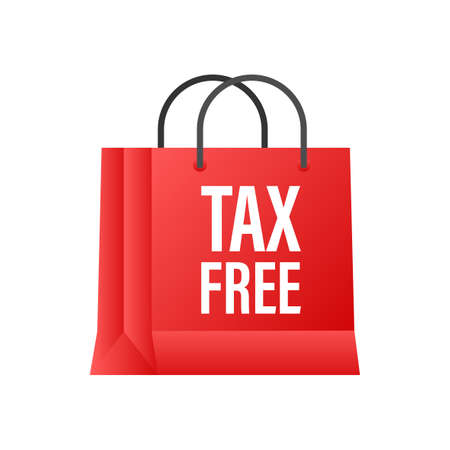 Modern red tax free sign on white background. Vector stock illustration.