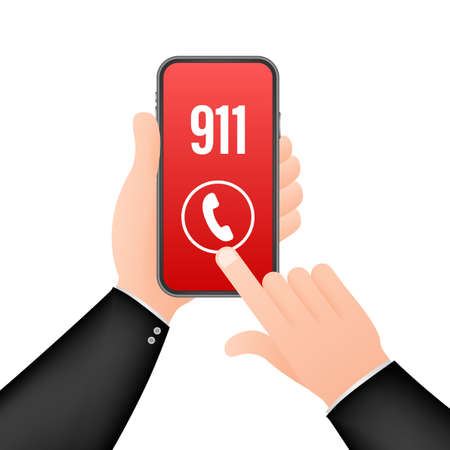 911 smartphone in flat style. Call icon vector. Hand holding smartphone. First aid. Finger touch screen. Vector stock illustration