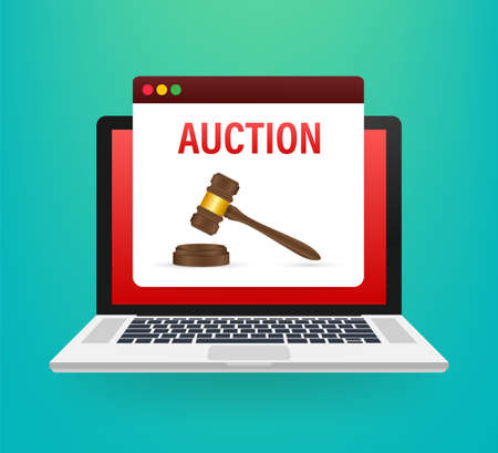 Auction hammer icon in cartoon style isolated on laptop screen. E-commerce symbol stock vector illustration.