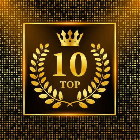 Top 10 label. Golden laurel wreath icon. Vector stock illustration.