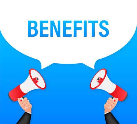 Hand Holding Megaphone with Benefits. Megaphone banner. Web design. Vector stock illustration Ilustração