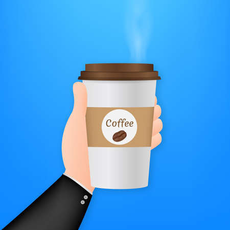 Disposable coffee cup in hand. Vector stock illustration Иллюстрация