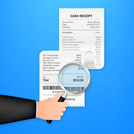 Receipt icon with magnifying glass. Studying paying bill. Payment of goods, service, utility, bank, restaurant. Vector stock illustration