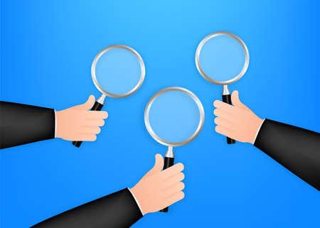Magnifying glass hand for web background design. Magnifying glass icon. Vector stock illustration Vektoros illusztráció