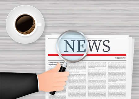 Blank daily newspaper. Fully editable whole newspaper in clipping mask. Reads news with a magnifying glass. Vector stock illustration Stock Illustratie