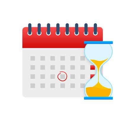 Calendar and clock icon. Wall calendar. Important, schedule, appointment date. Vector stock illustration Vektoros illusztráció