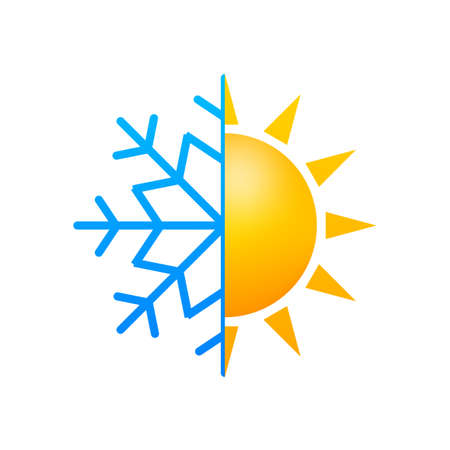 Climate change. Symbol of sun and snowflake. Vector stock illustration
