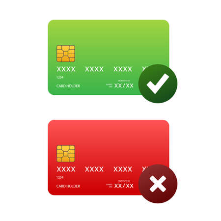 Credit cards with approved and rejected. Finance security transfer check. Transaction symbol. Vector stock illustration