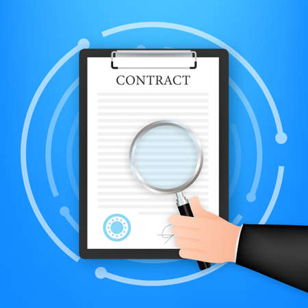 Hand checking contract with a magnifying glass before signing. Vector stock illustration Vettoriali