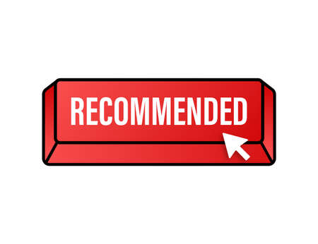 Recommend button. White label recommended on red background. Vector stock illustration