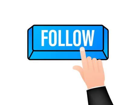 Follow. Hand click icon. Finger click icon. Vector stock illustration Ilustrace