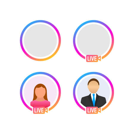 Social media icon avatar frame. Live stories user video streaming. Vector illustration