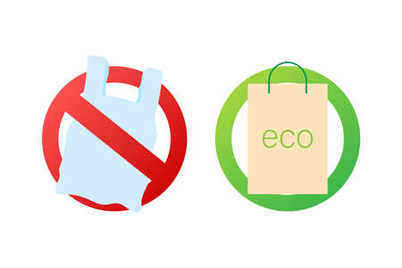Say no to plastic bags poster. The campaign to reduce the use of plastic bags to put. Vector stock illustration