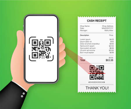 Hand holding smartphone to scan qr code on paper for detail. Vector stock illustration