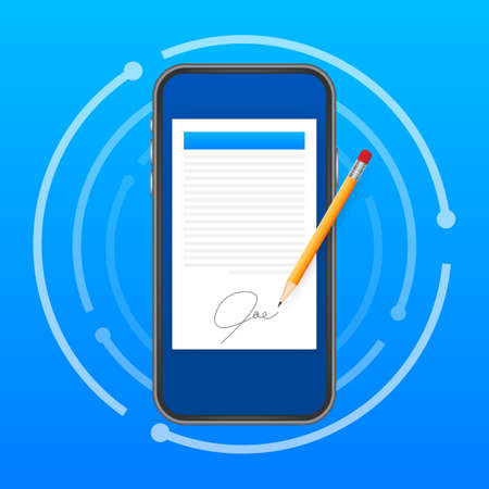 Electronic contract or digital signature concept. Vector stock illustration