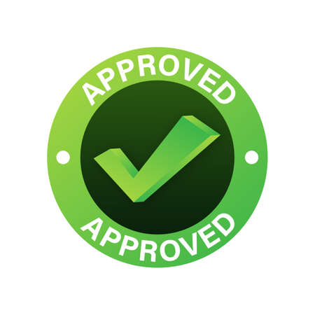 Approved medal. Round stamp for approved and tested product, software and services. Vector stock illustration