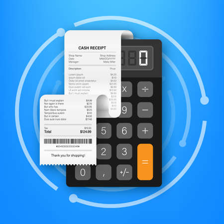 Receipts of realistic payment paper bills for cash or credit card transaction. Vector stock illustration Ilustrace
