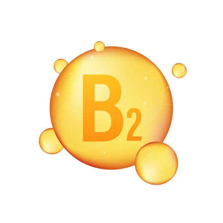 Vitamin B 2 gold shining icon. Ascorbic acid. Vector illustration.